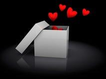 Boîte avec des coeurs Photo stock