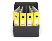 Boîte avec des dossiers d'isolement sur le fond blanc rendu 3d Photos stock