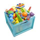 Boîte avec des jouets Photographie stock libre de droits