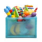 Boîte avec des jouets Photographie stock