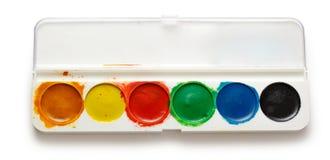 Boîte avec des peintures de couleur d'eau Image libre de droits