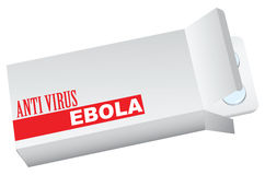Boîte avec l'anti ebola de virus Photo stock