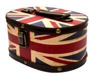 Boîte avec le drapeau BRITANNIQUE d'isolement Photos stock