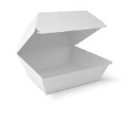 Boîte blanche à nourriture, empaquetant pour l'hamburger, déjeuner Photographie stock
