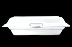 Boîte blanche de mousse de styrol sur le fond noir Images stock