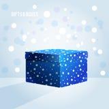 Boîte bleue sur le fond bleu-clair Images libres de droits