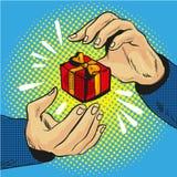 Boîte-cadeau à disposition avec l'arc d'or et le style comique d'art de bruit de rubans illustration stock