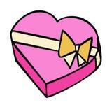 Boîte-cadeau actuels et en forme de coeur de bande dessinée avec l'arc de ruban illustration de vecteur