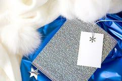Boîte-cadeau argenté brillant Photographie stock