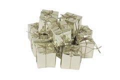 Boîte-cadeau argentée photographie stock