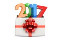 Boîte-cadeau avec coloré 2017, concept de nouvelle année et de Noël 3d rendent Image libre de droits