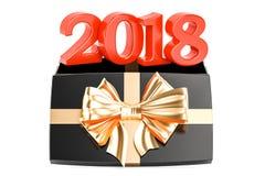 Boîte-cadeau avec 2018 Concept de la nouvelle année 2018 et du Noël, rendu 3D Photo libre de droits
