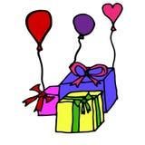 Boîte-cadeau avec des ballons de partie et flammes, concept pour un anniversaire passionnant, illustration libre de droits