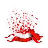 Boîte-cadeau avec des coeurs illustration libre de droits