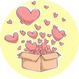 Boîte-cadeau avec des coeurs - illustration de vecteur Images libres de droits