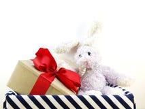 boîte-cadeau avec l'arc de ruban et lapin dans la boîte Image libre de droits