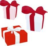 Boîte-cadeau avec l'illustration de vecteur d'arc d'isolement sur le fond blanc Photos stock