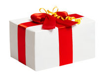 Boîte-cadeau avec le ruban et arc sur le fond blanc Image stock