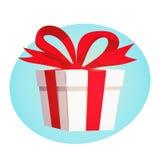 Boîte-cadeau avec le ruban rouge et arc sur le concept de construction bleu de fond Photo stock