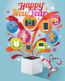 Boîte-cadeau avec le texte de bonne année et les diverses icônes illustration de vecteur