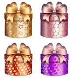 Boîte-cadeau avec les arcs et les modèles lumineux des coeurs et des étoiles illustration libre de droits