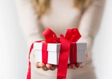 Boîte-cadeau blanc Images stock