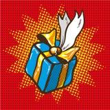 Boîte-cadeau bleu avec les rubans d'or, illustration de vecteur d'art de bruit rétro Photographie stock libre de droits