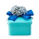 Boîte-cadeau bleu-clair Photo stock