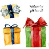 Boîte-cadeau d'aquarelle réglés Boîte peinte à la main avec l'arc d'isolement sur le fond blanc Collection de salutation pour la  illustration libre de droits