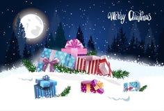 Boîte-cadeau dans la bannière de vacances de Forest Merry Christmas Background Design d'hiver Images stock