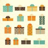 Boîte-cadeau dans le rétro style Placez les présents de vintage Vecteur Photos stock