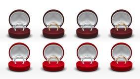 Boîte-cadeau de bijoux ouvert par velours rouge rond clair Argent, or, Diamond Ring Image stock