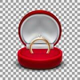 Boîte-cadeau de bijoux ouvert par velours rouge rond clair avec de l'or Diamond Ring Image stock