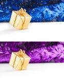 Boîte-cadeau de Noël d'or Images stock