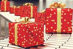 Boîte-cadeau de Noël sur le rouleau de convoyeur rendu 3d Images libres de droits