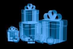 Boîte-cadeau du rayon X d'isolement sur le noir Photographie stock