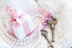 Boîte-cadeau et clés Images libres de droits