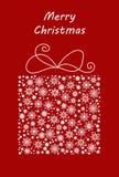 Boîte-cadeau fait à partir des flocons de neige et de la neige Dirigez l'illustration pour la carte postale, la bannière, l'affic illustration stock