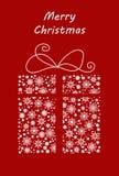 Boîte-cadeau fait à partir des flocons de neige et de la neige Dirigez l'illustration pour la carte postale, la bannière, l'affic Photographie stock libre de droits
