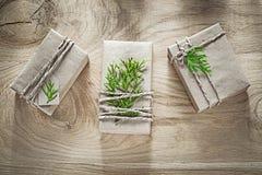 Boîte-cadeau faits main enveloppés en papier de boutique avec le holi vert de branche Photographie stock