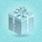 Boîte-cadeau fleuri de turquoise avec le ruban et l'arc en soie Photos stock