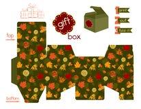 Boîte-cadeau imprimable avec Autumn Leaves Images stock