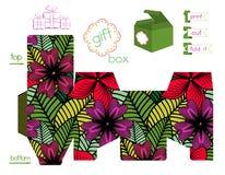Boîte-cadeau imprimable avec le modèle de fleurs lumineux Photographie stock libre de droits