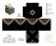 Boîte-cadeau imprimable avec le modèle mexicain abstrait Photo libre de droits