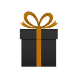 Boîte-cadeau noir sur le fond blanc Photo libre de droits