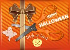 Boîte-cadeau orange pour Halloween Conception de Halloween illustration libre de droits