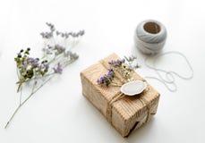 Boîte-cadeau (paquet) avec l'étiquette vide de cadeau sur le fond blanc image libre de droits