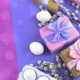 Boîte-cadeau réglé de Pâques avec l'oeuf blanc de chatons de branches Photos stock