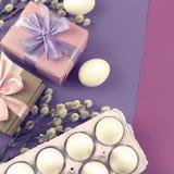 Boîte-cadeau réglé de Pâques avec l'oeuf blanc de chatons de branches Photo stock