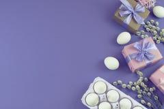 Boîte-cadeau réglé de Pâques avec l'oeuf blanc de chatons de branches Photographie stock